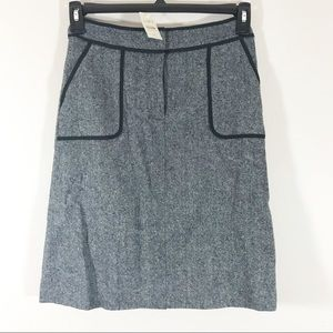 NEW Loft tweed wool grey work skirt size 2 petite